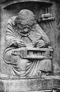 Jedna z płaskorzeźb w katedrze Chartres przedstawiająca Pitagorasa