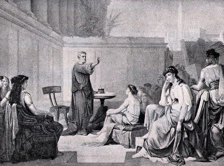 Szkoła pitagorejska. Na pierwszym pl;anie Theano, żona Pitagorasa.