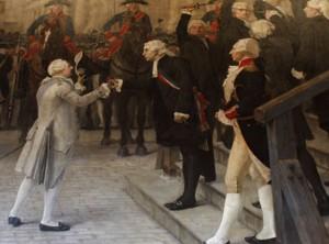 """Ludwik XVI przyjmowany w l`Hotel de Ville de Paris """"pod sklepieniem żelaznym"""""""