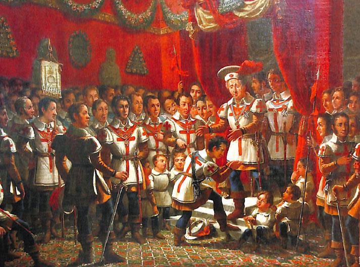 Ceremonia podniesienia Różokrzyżowca; obraz na płótnie; 1829; Guillaume-Jerome Rascalon.