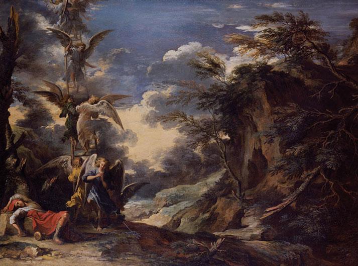 Salvator Rosa, Pejzaż z Jakubowym Snem (olej na płótnie 1665)