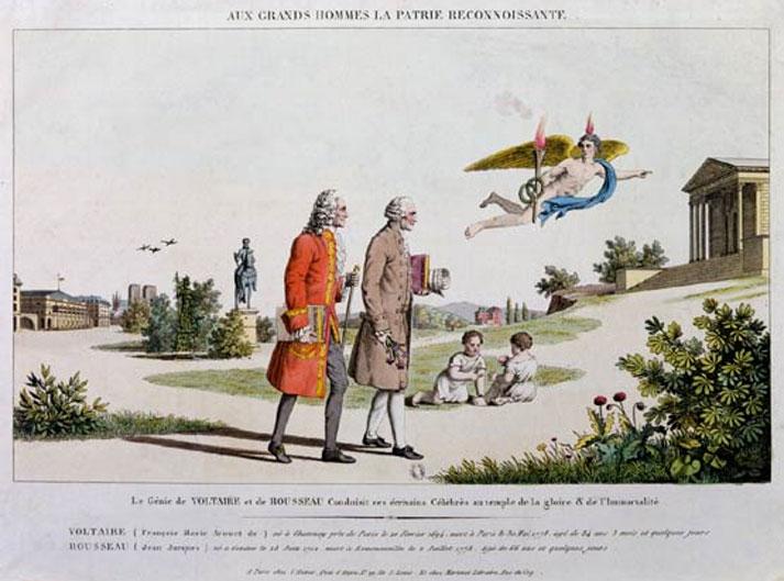 Voltaire, Rousseau - Aux Grands Hommes La Patrie Reconnoissante