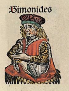 Symondes z Keos (556-468 pne.), drzeworyt z Kroniki Norymberskiej 1493