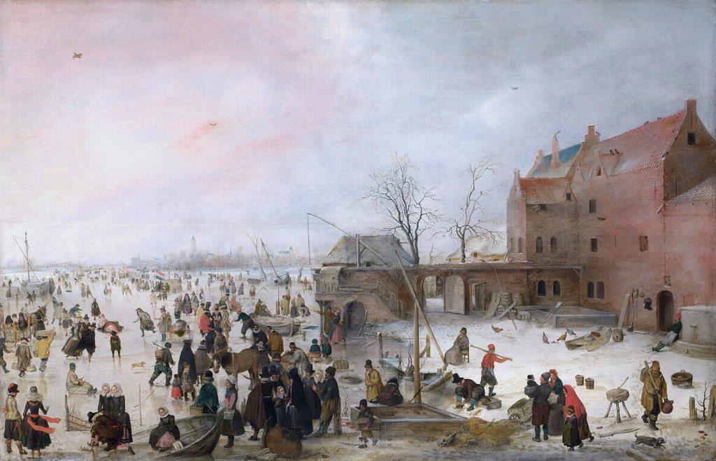 "Hendric Avercamp ""Scena na lodzie pod miastem"" 1610 r."