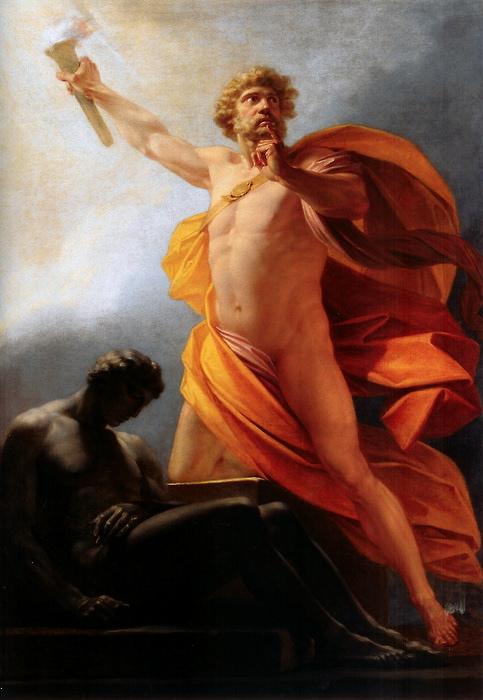 """""""Prometeusz ofiarowuje dar ognia"""", 1817, by Heinrich Friedrich Füger. Źródło: Wikipedia"""